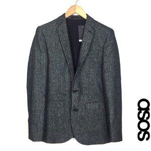 ASOS Men's Dark Gray Tweed Slim Fit Blazer - 36R
